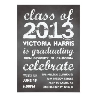 "Big and bold gray chalkboard typography modern 5"" x 7"" invitation card"