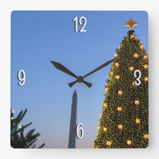 Big and Little Christmas Trees II Holiday in DC Wall Clocks