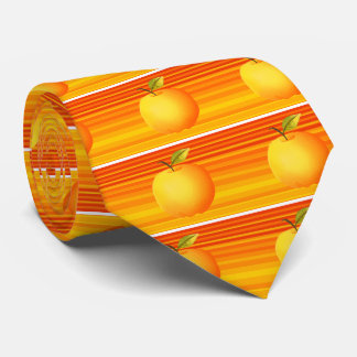 Big Apple Cartoon Vibrant Fruit Artistic Stripes Tie