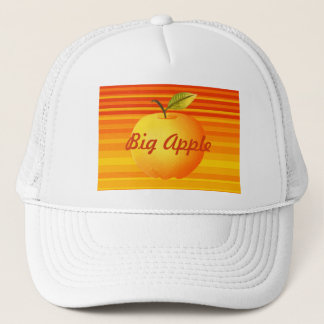 Big Apple Cartoon Vibrant Fruit Artistic Stripes Trucker Hat