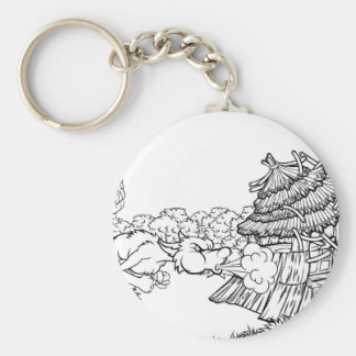 Big Bad Wolf Blowing Down House Three Little Pigs Key Ring