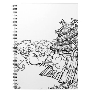 Big Bad Wolf Blowing Down House Three Little Pigs Notebook