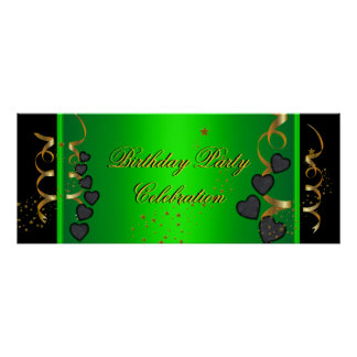 big Banner Birthday Party Celebration Lime Green Poster