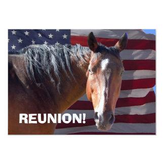 Big Bay Horse & U.S. Flag - Reunion Party 13 Cm X 18 Cm Invitation Card