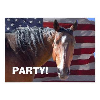 """Big Bay Horse & U.S. Flag - Western Party 5"""" X 7"""" Invitation Card"""