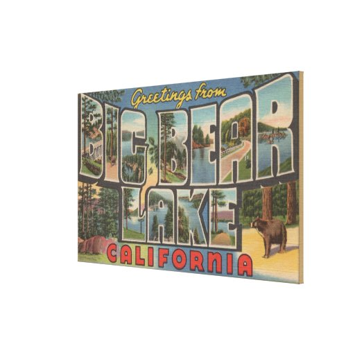 Big Bear Lake, California - Large Letter Scenes Gallery Wrapped Canvas