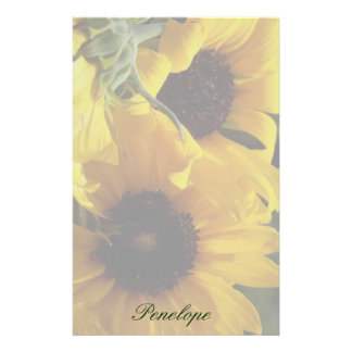 Big Beautiful Yellow Sunflowers and Your Name Stationery