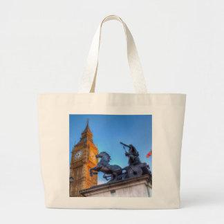 Big Ben and Boadicea Statue Large Tote Bag