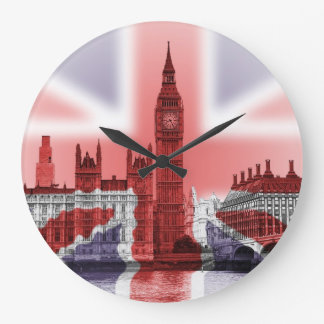 Big Ben and Houses of Parliament, Union Jack Large Clock