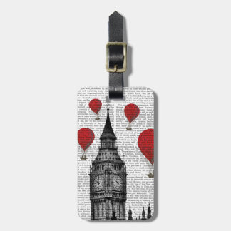 Big Ben and Red Hot Air Balloons Tags For Bags