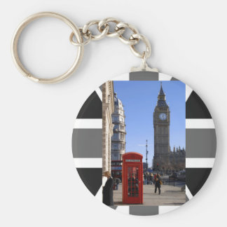 Big Ben and Red Telephone box in London Basic Round Button Key Ring