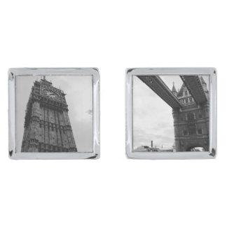 Big Ben and Tower Bridge Silver Finish Cuff Links