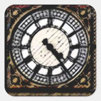 Big Ben clock-face in Acrylics Square Sticker