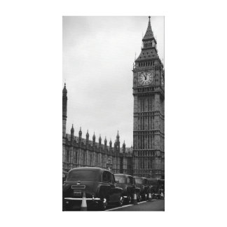 Big Ben en taxi cabs in black and white canvas