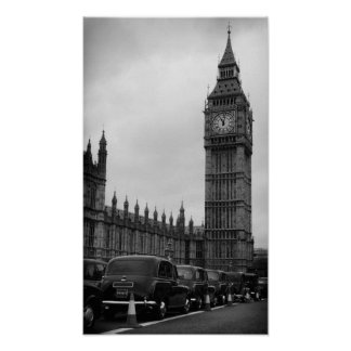 Big Ben en taxi cabs in black and white poster