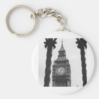 Big Ben in Black & White Basic Round Button Key Ring