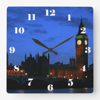 Big Ben London at night, with numbers Square Wall Clock