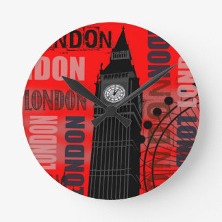 Big Ben London Collage Red Background Modern Round Clock
