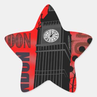 Big Ben London Collage Red Background Modern Star Sticker