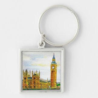 Big Ben , London. Silver-Colored Square Key Ring