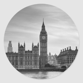 Big Ben Monochrome Round Sticker