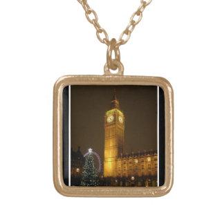 Big Ben ticks Goodnight Square Pendant Necklace