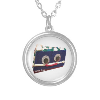 big berry cake face with logo silver plated necklace