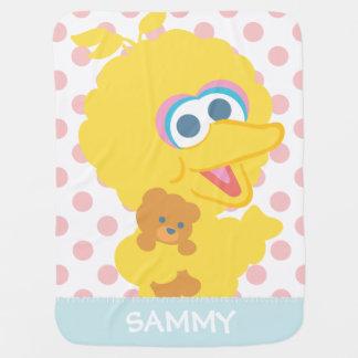 Big Bird Holding Teddy Bear | Add Your Name Baby Blanket