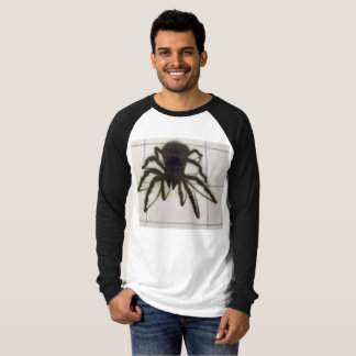 Big black 3 D spider on mans long sleeve Tee