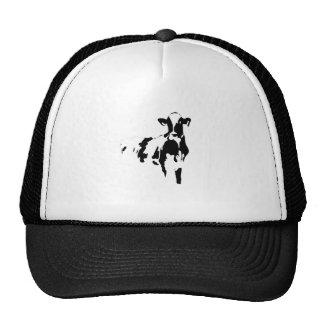 big black and white cow cap