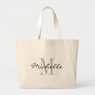 Big black and white name monogram jumbo tote bags
