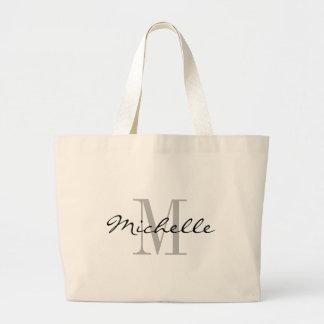 Big black and white name monogram jumbo tote bags