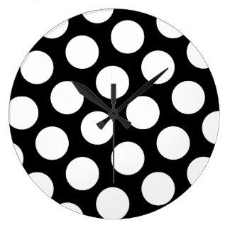 Big Black and White Polka Dots Round Wallclock