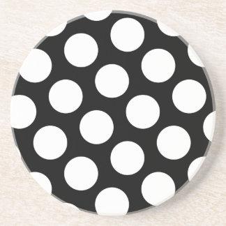 Big Black and White Polka Dots Beverage Coasters