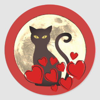 Big black cat at full moon Sticker