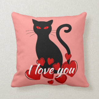 Big black cat I love you Coral pillow