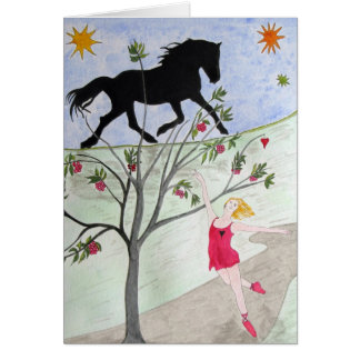 Big Black Horse And A Cherry Tree Greeting Cards