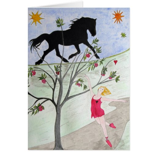 'Big Black Horse And A Cherry Tree' Greeting Cards