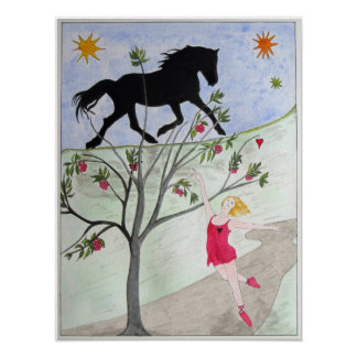 'Big Black Horse And A Cherry Tree' Poster