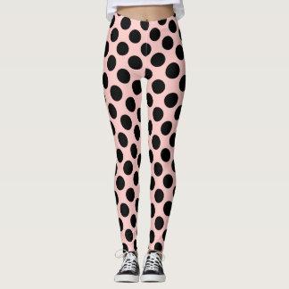Big Black Polka Dot ,Pink Beige Leggings
