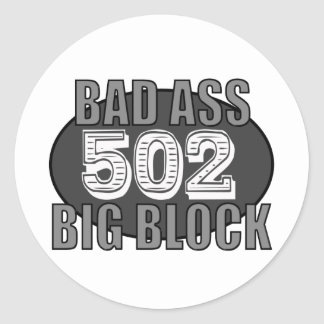 big block bad 502 classic round sticker