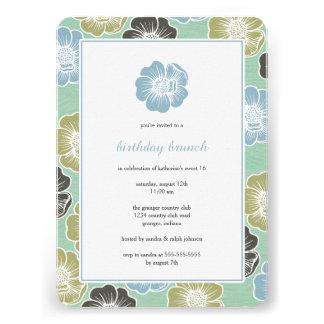 Big Bloom Sixteen Birthday Invites mint