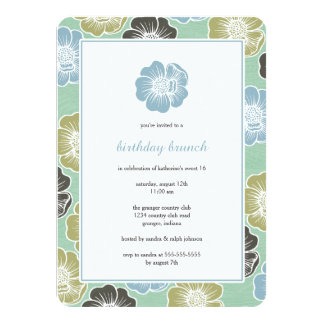 """Big Bloom Sixteen Birthday Invites (mint) 4.5"""" X 6.25"""" Invitation Card"""