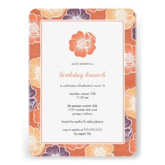 Big Bloom Sixteen Birthday Invites orange