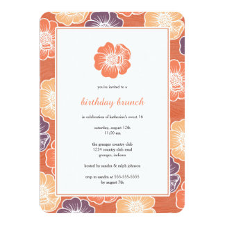 "Big Bloom Sixteen Birthday Invites (orange) 4.5"" X 6.25"" Invitation Card"