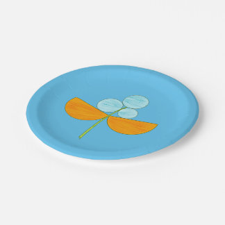 Big blue and orange watercolor flower 7 inch paper plate