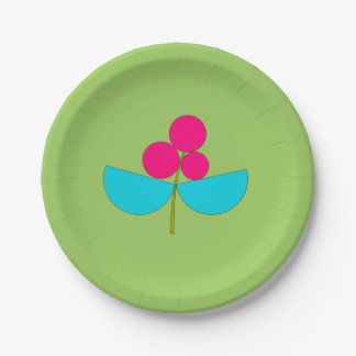 Big blue and pink flower on green 7 inch paper plate