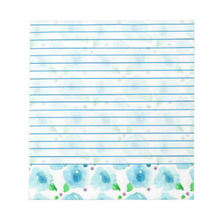 Big Blue Blossoms Watercolor Flowers Lined Notepad