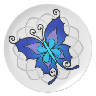 Big blue butterfly decorative plates