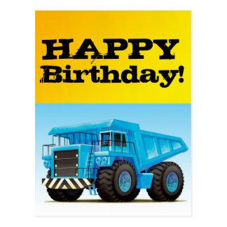 Big Blue Dump Truck Postcard